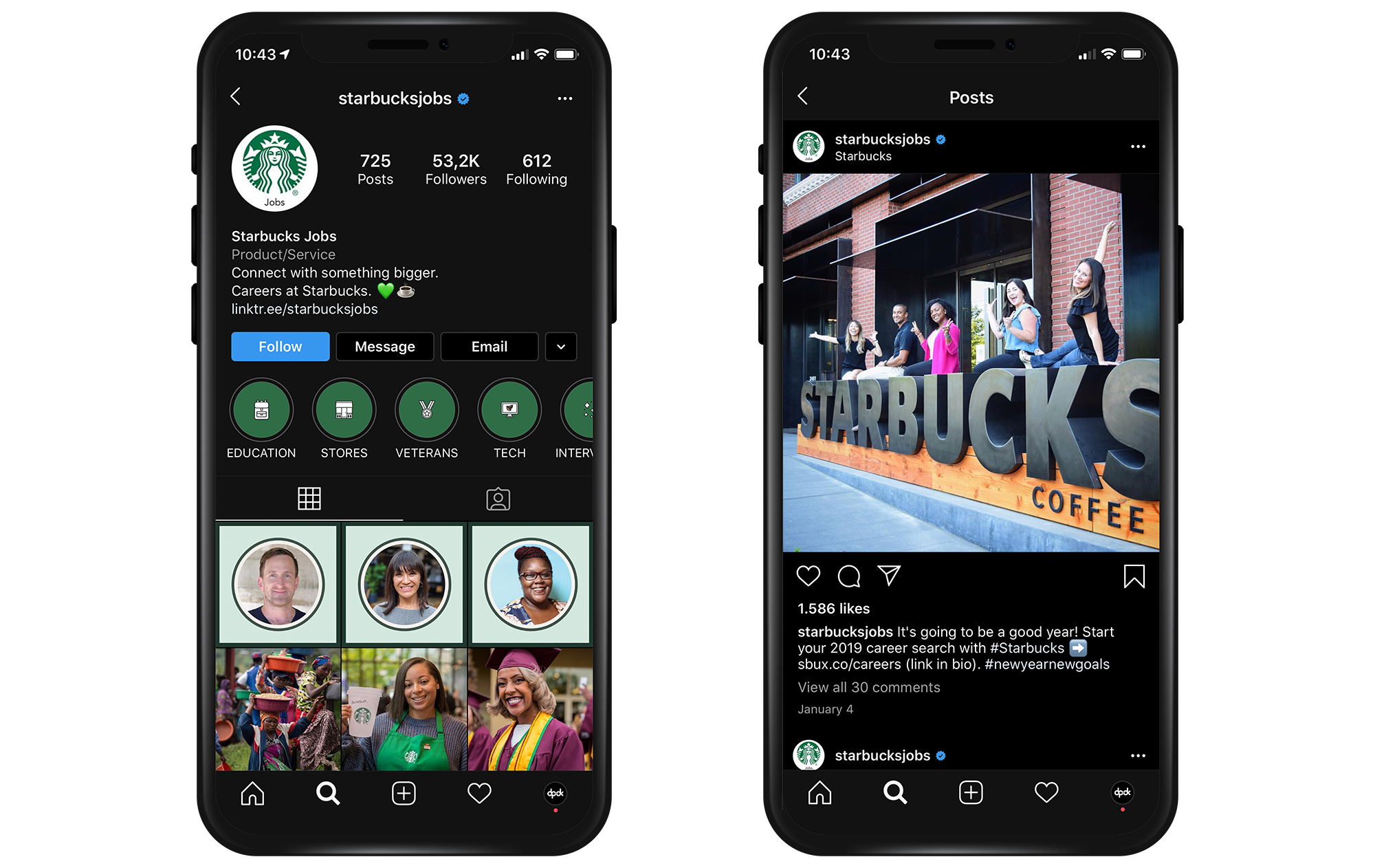 Starbuck jobs Instagram